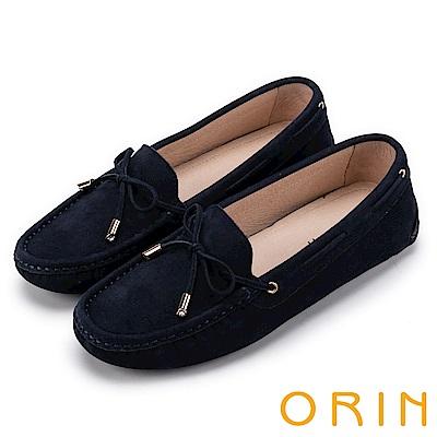 ORIN 經典復古時尚 真皮手縫平底帆船鞋-藍色