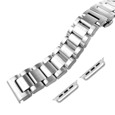 Apple Watch 蘋果手錶替用錶帶 蝴蝶雙壓扣 不鏽鋼錶帶-銀色