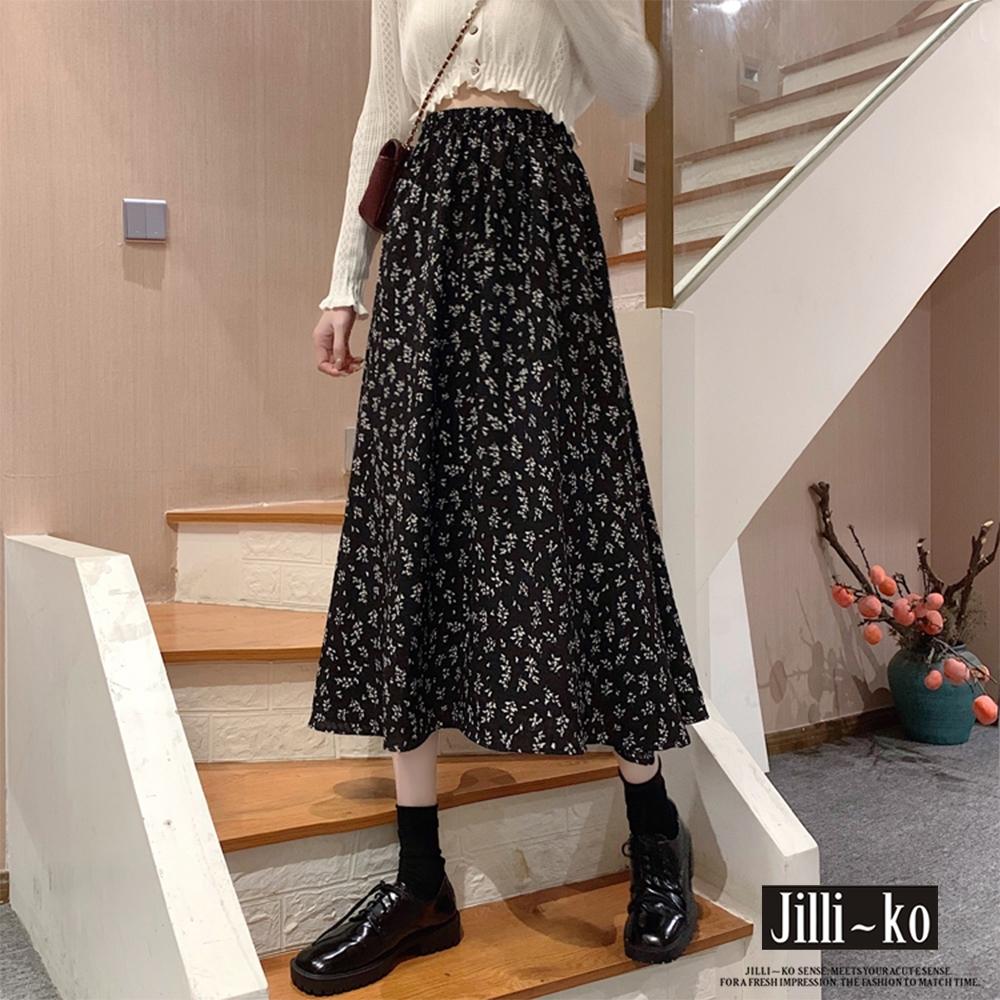 JILLI-KO 碎花雪紡中長裙- 黑色