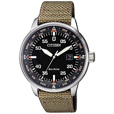 CITIZEN 星辰光動能軍風時尚手錶(BM7390-14E)-黑X綠/42mm