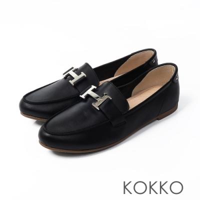 KOKKO -經典H扣休閒莫卡辛軟底鞋-芝麻黑