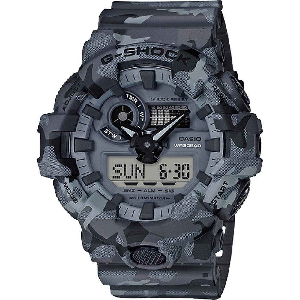 G-SHOCK 悍將迷彩風格雙顯式設計玩錶-黑灰(GA-700CM-8A)/53mm