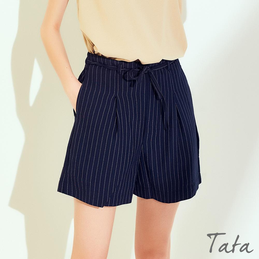 綁帶直條紋短褲 共二色 TATA-(S~L)