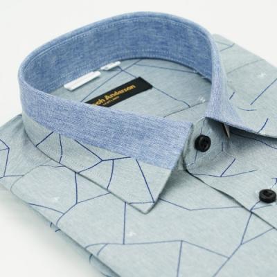 金‧安德森 變化領灰裂紋窄版長袖襯衫fast