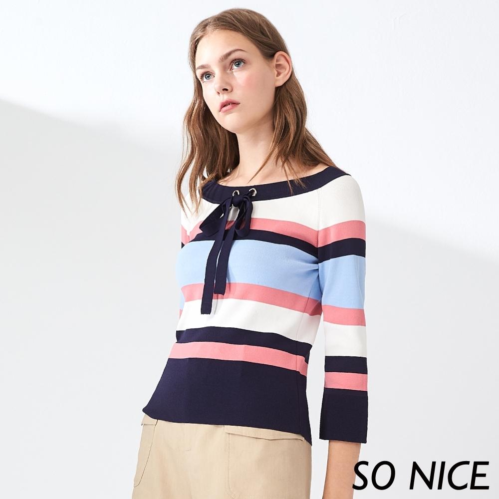 SO NICE優雅撞色條紋針織上衣