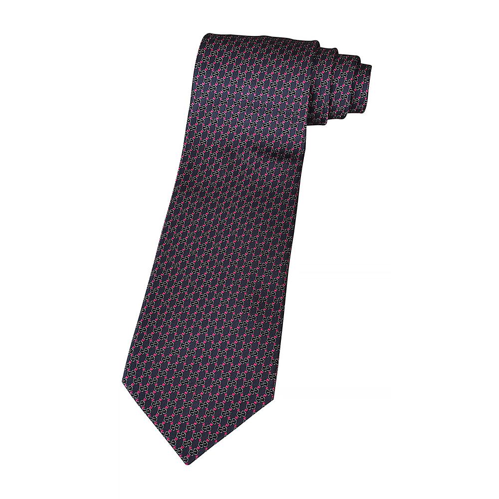 GUCCI經典GG緹花LOGO菱格紋設計蠶絲領帶(藍x紅)