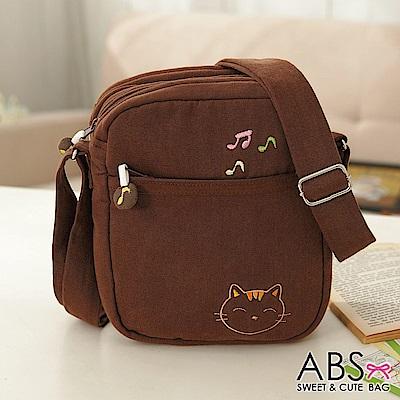 ABS貝斯貓 可愛貓咪手工拼布 小型側背包(咖啡)88-165