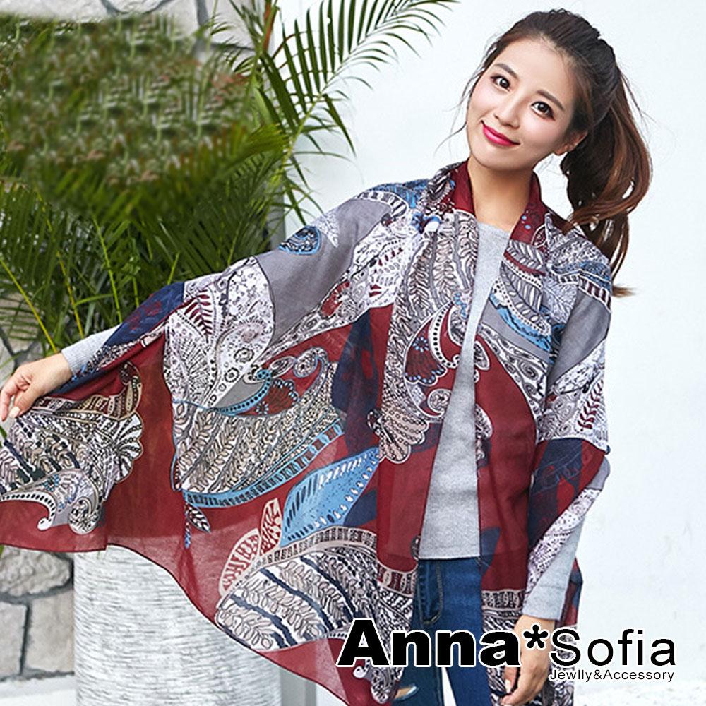 AnnaSofia 波亞圖騰 拷克邊韓國棉圍巾披肩(酒紅系)