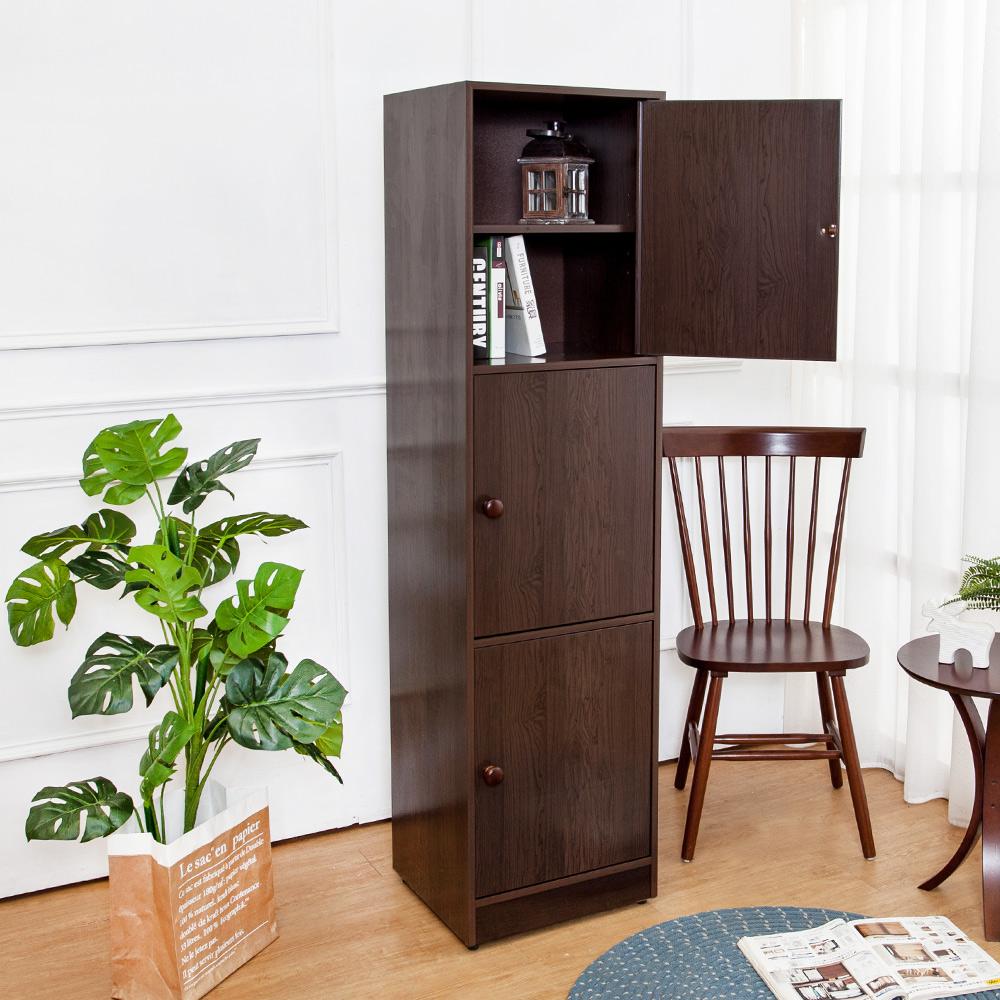 Birdie南亞塑鋼-1.5尺三門塑鋼收納櫃/置物櫃(胡桃色)-43.5x40x168.5