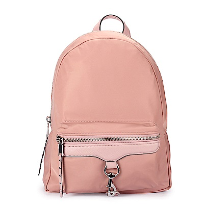 Rebecca Minkoff  M.A.B. 亮絲尼龍銀釦環後背包-粉紅色