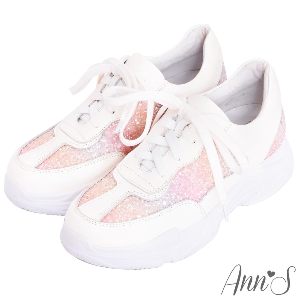 Ann'S魔術第四代獨角獸漸層碎石細腿真皮老爹小白鞋-粉(版型偏小)