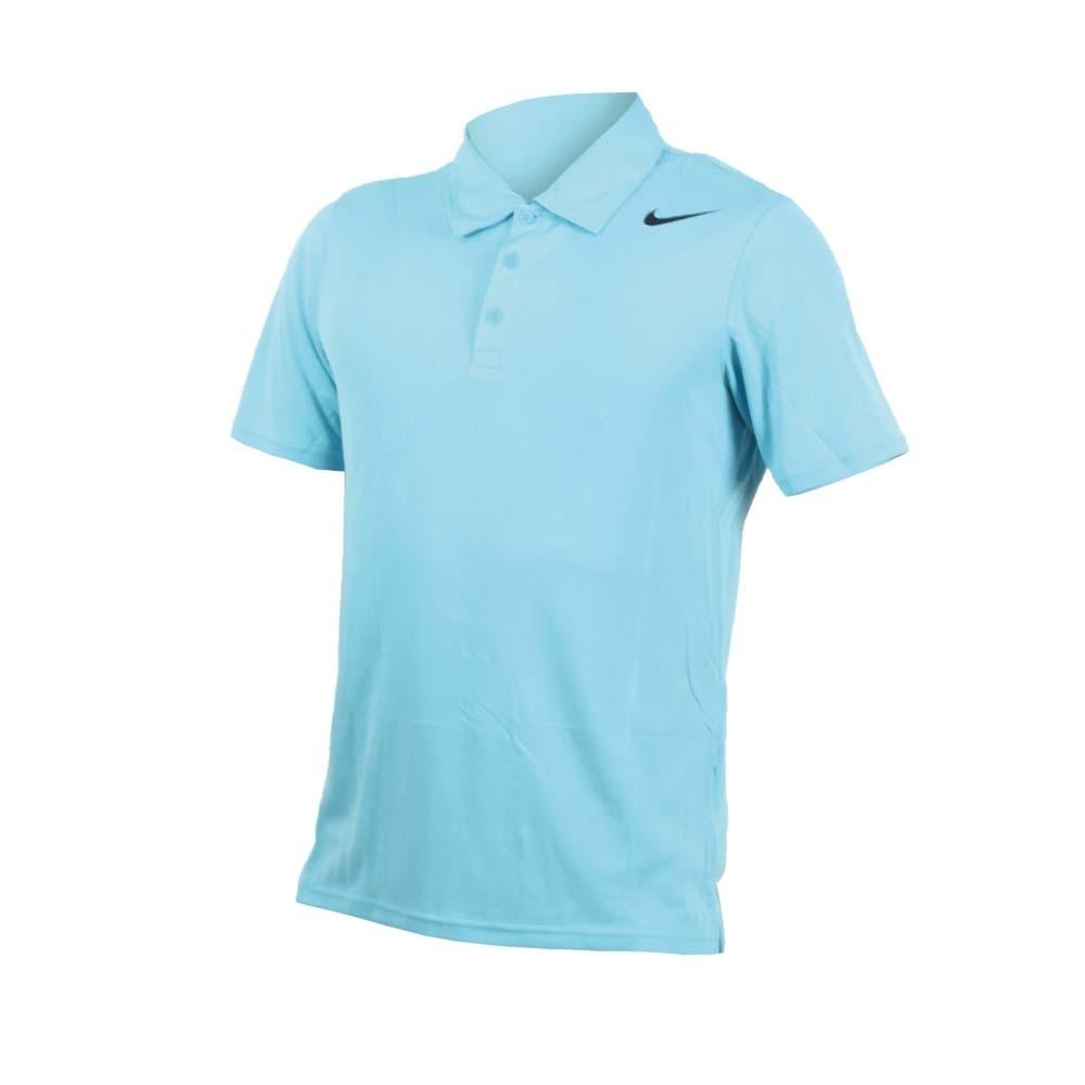 NIKE 男翻領短袖POLO衫-立領 網球 針織衫 水藍黑