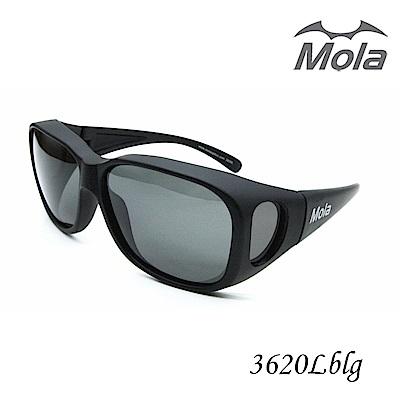 MOLA 摩拉大臉近視可戴偏光太陽眼鏡/套鏡 近視可戴-3620Lblg
