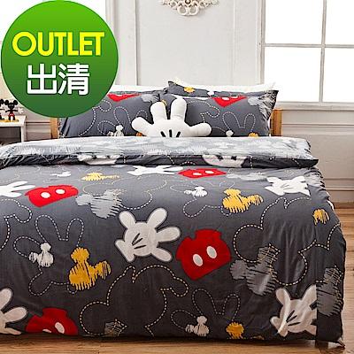 戀家小舖 / 雙人床包兩用被組  米奇塗鴉  100%精梳棉  台灣製