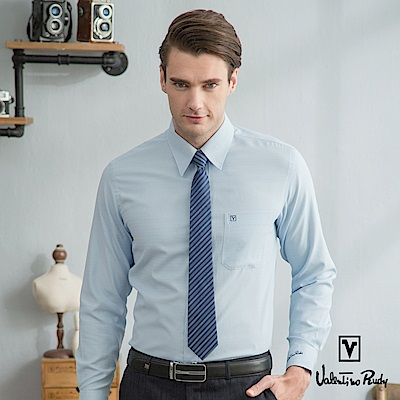 Valentino Rudy范倫鐵諾.路迪-長袖襯衫-緞面緹花條淺藍(暗釘扣)