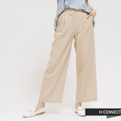 H:CONNECT 韓國品牌 女裝 - 純色腰鬆緊抓摺寬褲 - 卡其