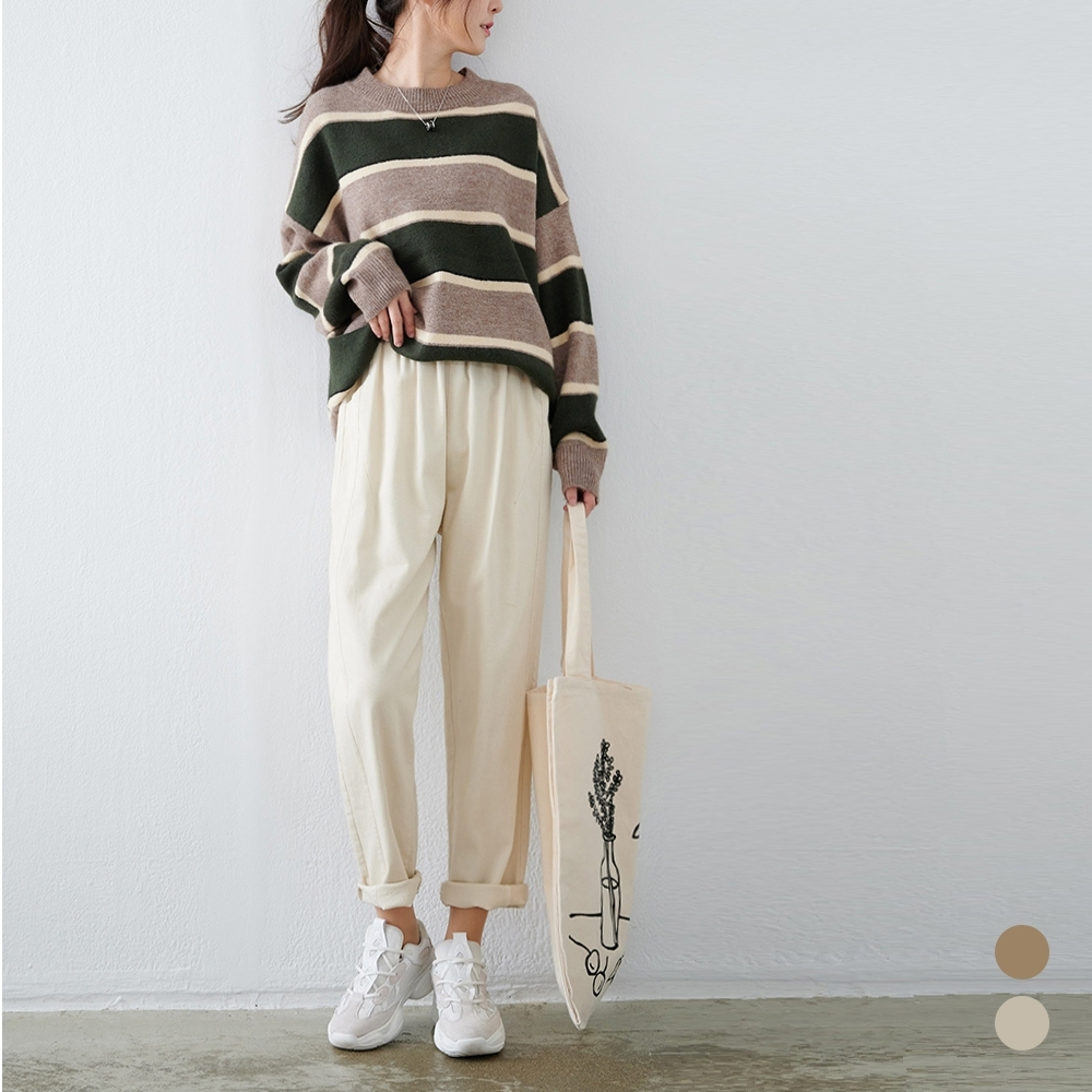 慢 生活 厚款斜紋棉布直筒長褲- 杏色