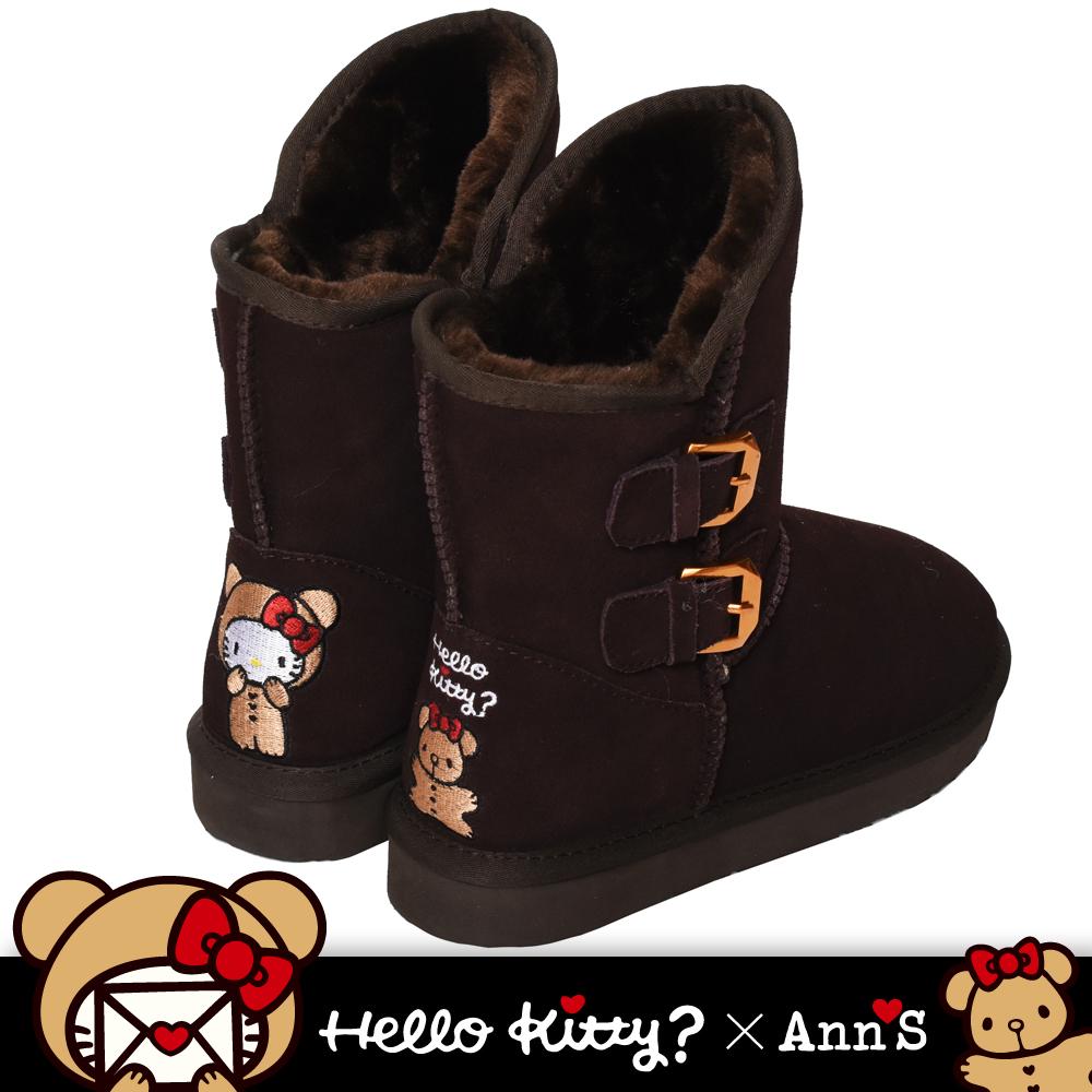 HELLO KITTY X Ann'S棕色熊熊側面雙扣2穿彩色刺繡真皮雪靴-棕