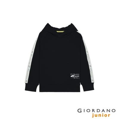 GIORDANO 童裝G-MOTION織帶連帽T恤 - 09 標誌黑