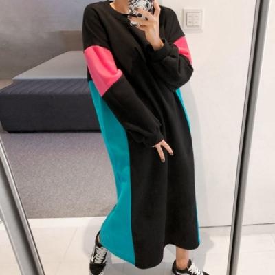 La Belleza圓領撞色側邊袖子配色內裡加絨厚棉刷毛長版洋裝