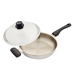 WOKY沃廚 玫瑰金專利不鏽鋼平煎鍋34cm(贈OK智慧感溫鍋鏟)
