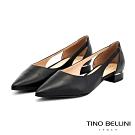 Tino Bellini巴西進口鞋身挖空線條平底鞋_黑