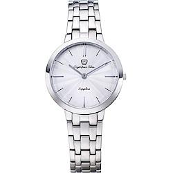 OlympiaStar 奧林比亞之星 時尚水波紋腕錶-白/34mm  58060LS