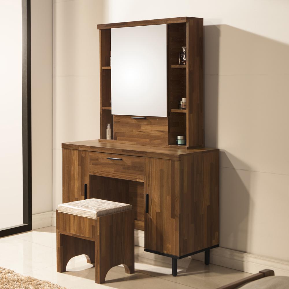 D&T 德泰傢俱 歐克斯工業生活3.5尺化妝桌椅組-106x40x160.5cm
