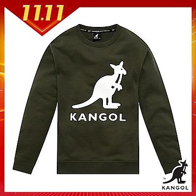 【KANGOL】大LOGO設計圓領上衣/大學T-男-墨綠