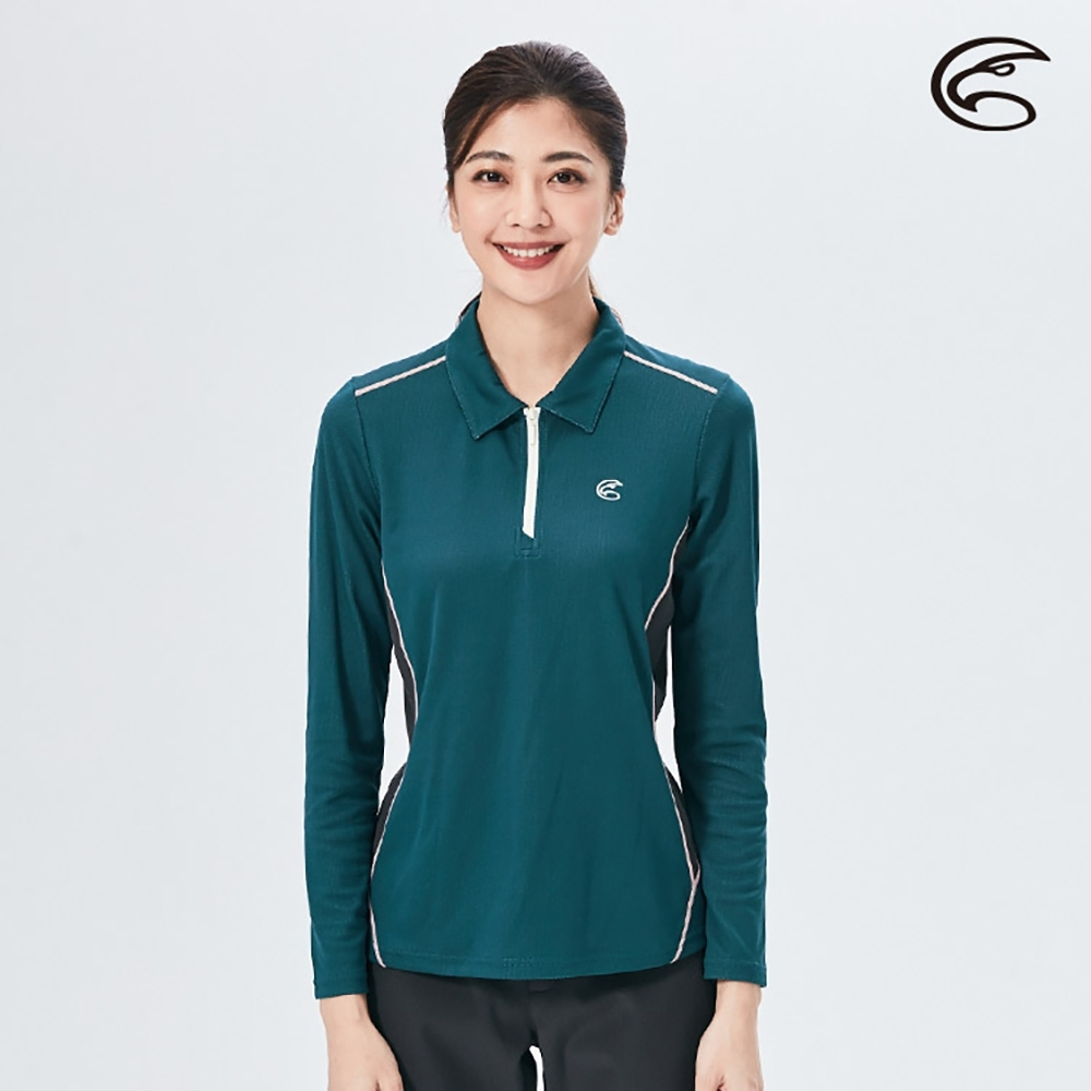 ADISI 女半門襟智能纖維超輕速乾長袖POLO衫AL2021042 (S-2XL) 水手藍
