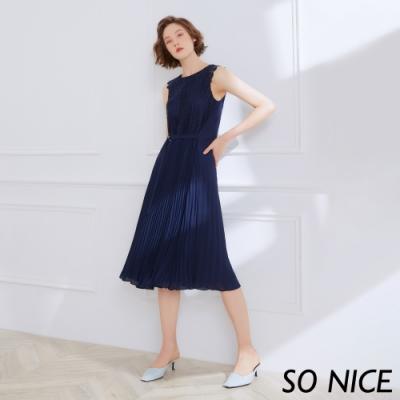 SO NICE時尚拼接蕾絲壓褶長洋裝