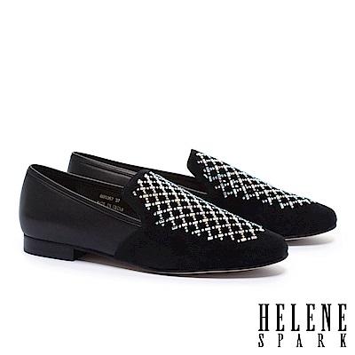低跟鞋 HELENE SPARK 華麗璀璨晶鑽沖孔麂皮拼接羊皮樂福低跟鞋-黑