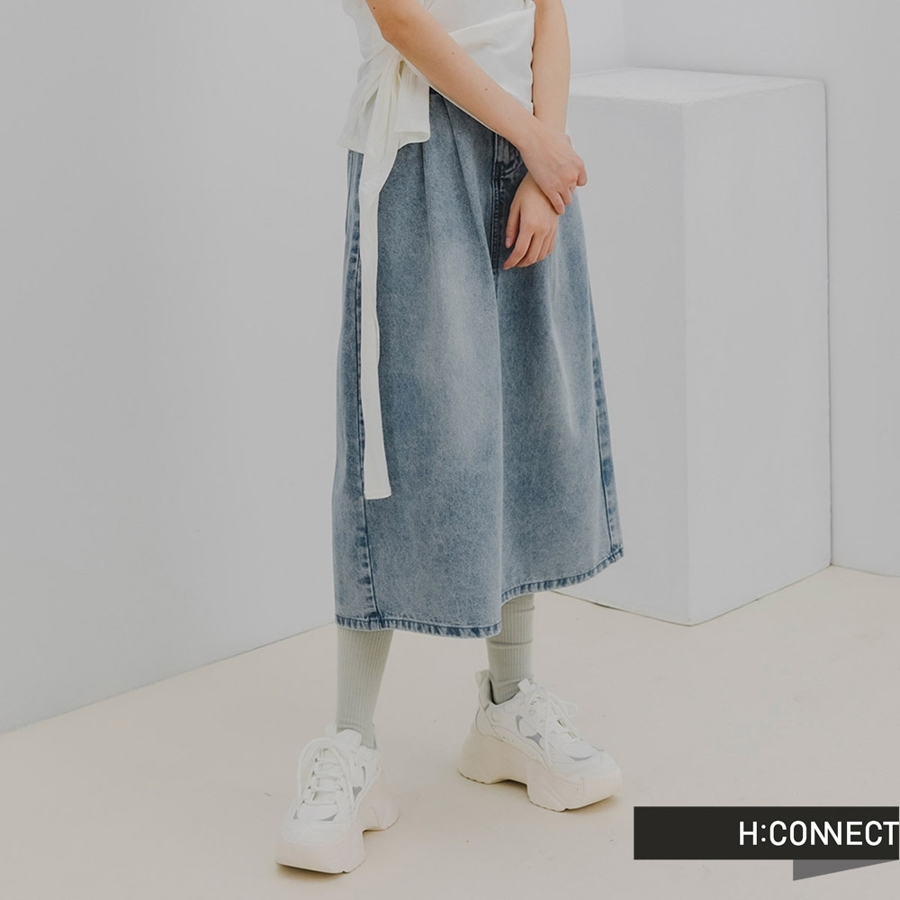 H:CONNECT 韓國品牌 女裝 -打摺後開衩A字牛仔長裙-深藍色