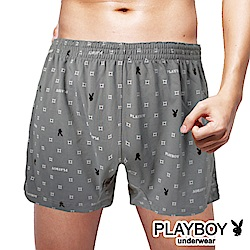 PLAYBOY 兔頭菱形印花彈性四角褲-單件(灰菱黑兔)