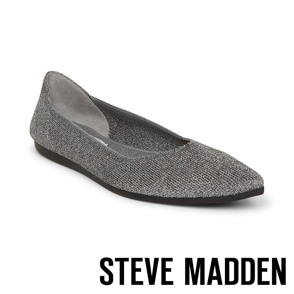 STEVE MADDEN-REVA 潮流時尚彈性面料平底鞋-星空銀