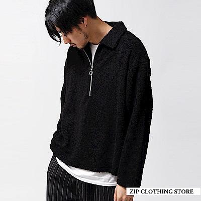 仿羊絨半拉鍊套頭衫(3色) ZIP日本男裝