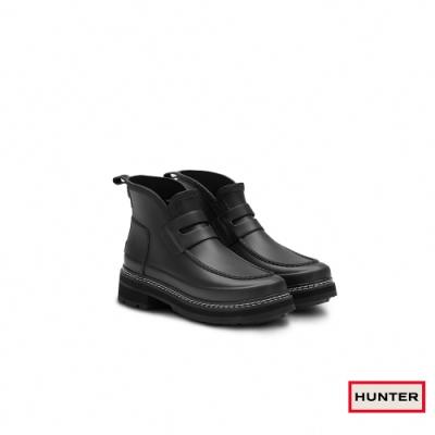 HUNTER -女鞋-Refined粗針縫樂福霧面踝靴-黑