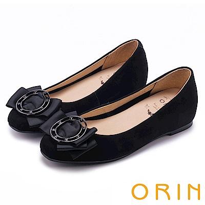 ORIN 甜美素雅 金屬圓型星星釦環牛皮平底娃娃鞋-黑色