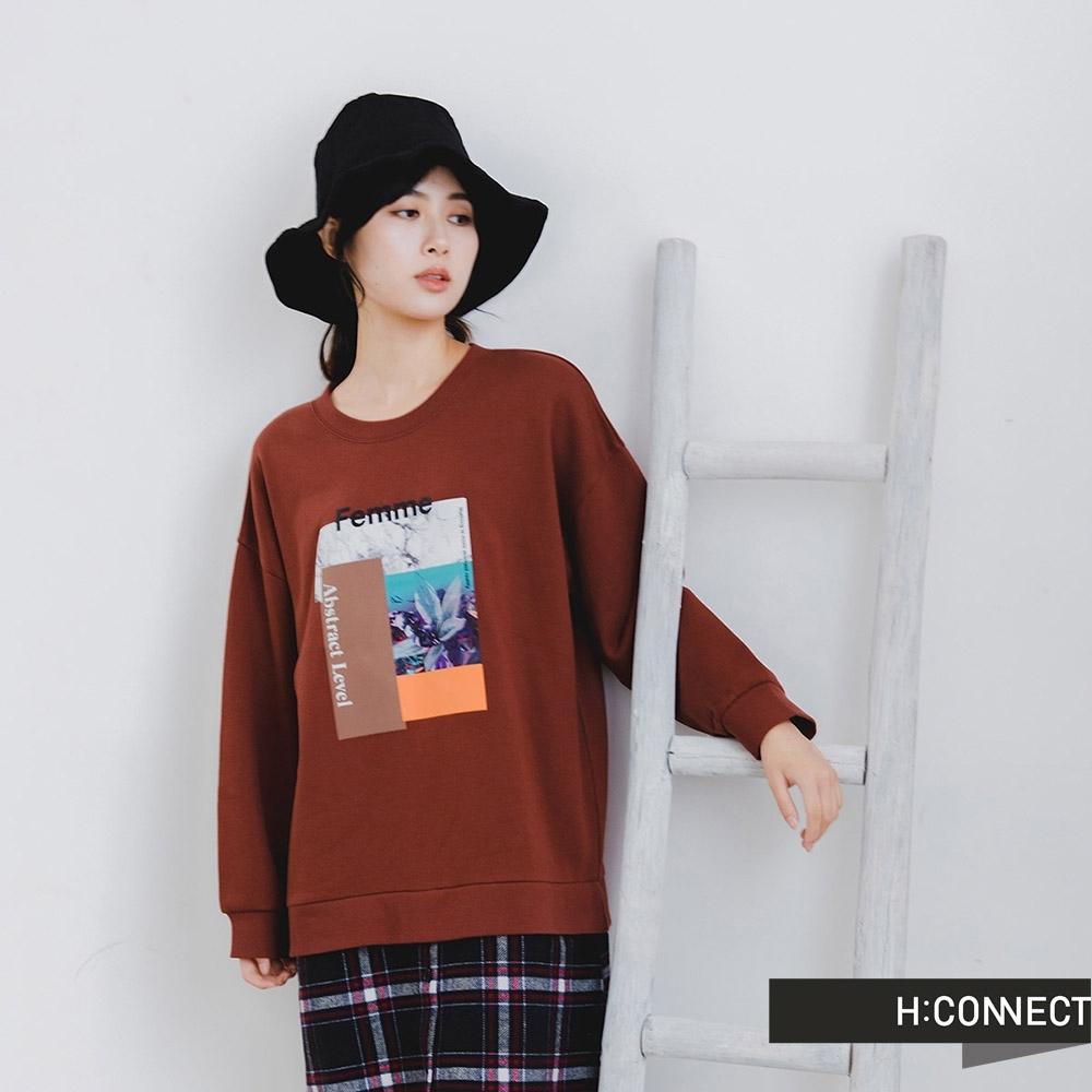 H:CONNECT 韓國品牌 女裝 -拼接圖印圓領假兩件洋裝-紅色