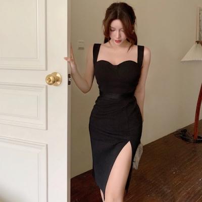 黑色晚宴款吊帶開叉裙襬小洋裝S-L-Sexy Devil