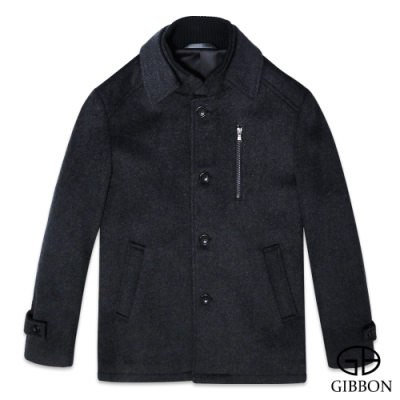 GIBBON 典雅排釦毛料大衣外套‧斜紋灰