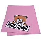 MOSCHINO 義大利製小熊字母LOGO圖騰混羊毛圍巾(粉紅)