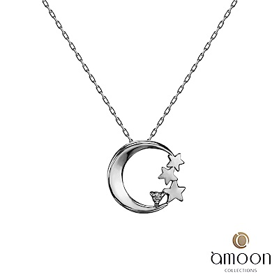 amoon 戀戀東京系列  星月 10K金鑽石墜子 送18K金純銀項鍊
