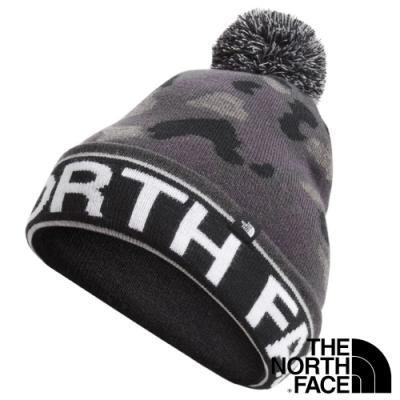 The North Face 新款 SKI TUKE 輕量針織透氣保暖毛線帽(可遮耳/翻摺)_黑迷彩 N