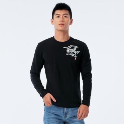 BIG TRAIN 鯉魚水波長袖T-男-黑