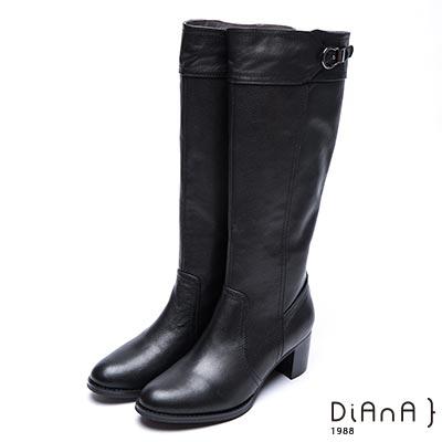 DIANA 時尚前線--復古經典皮帶式金屬飾釦真皮長靴-黑