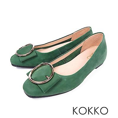 KOKKO -微涼空氣全真皮圓扣平底鞋-橄欖綠