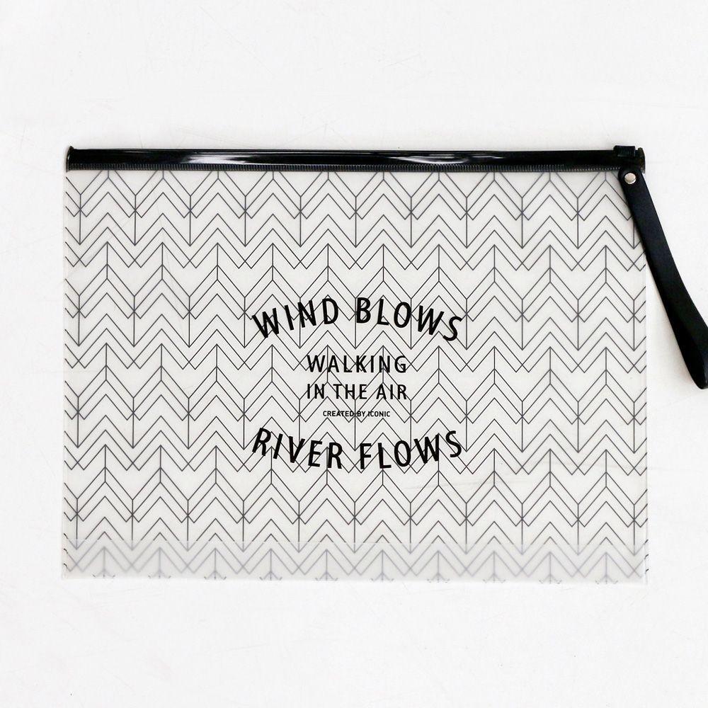 iconic 熱帶風情透明夾鏈袋手袋L-幾何山形