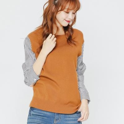 H:CONNECT 韓國品牌 女裝-條紋拼接薄針織上衣-棕(快)