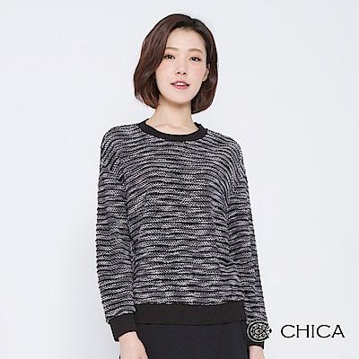CHICA 青春旋律混線編織圓領上衣(3色)